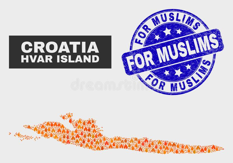 Fire Mosaic Hvar Island Map and Scratched For Muslims Stamp royalty free illustration