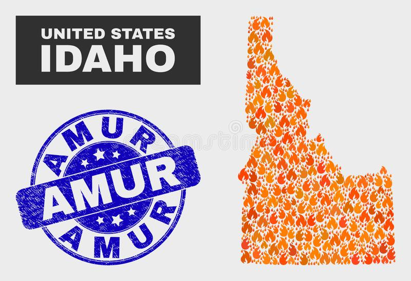 Flamed Mosaic Idaho State Map and Distress Amur Watermark. Vector composition of flame Idaho State map and blue rounded textured Amur stamp. Orange Idaho State stock illustration