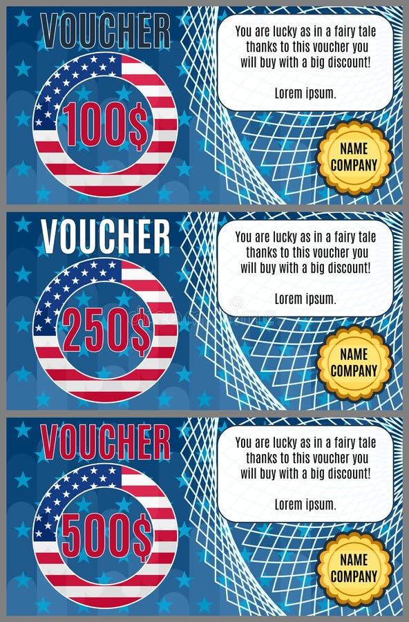 Vector comprovantes na venda americana brilhante com uma bandeira ilustração royalty free