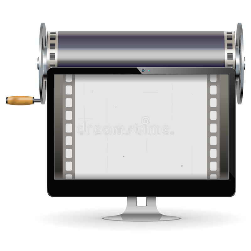 Vector Computer Cinema Concept. On white background vector illustration