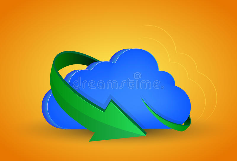 Download Vector Computer Cloud With Arrow Stock Illustration - Image: 36977334