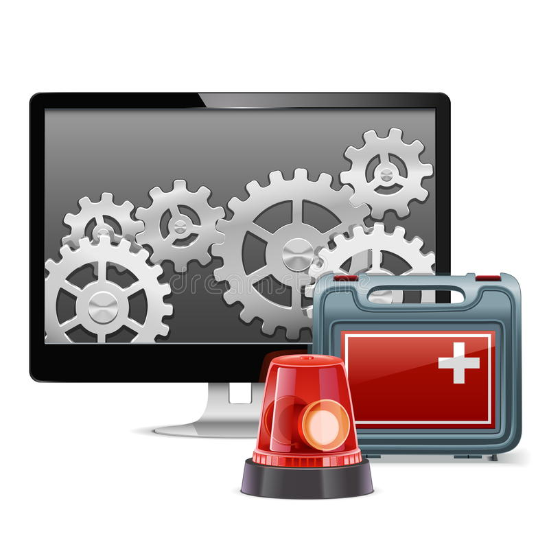 Vector Computer Emergency Support. On white background royalty free illustration