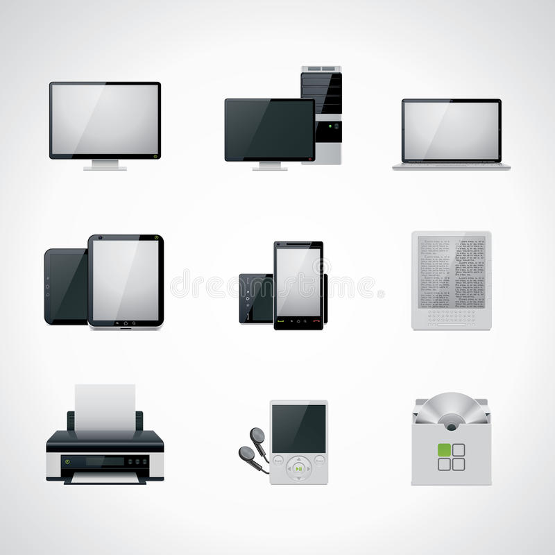 Vector computer icon set. Set of detailed IT related icons in black and white colors vector illustration