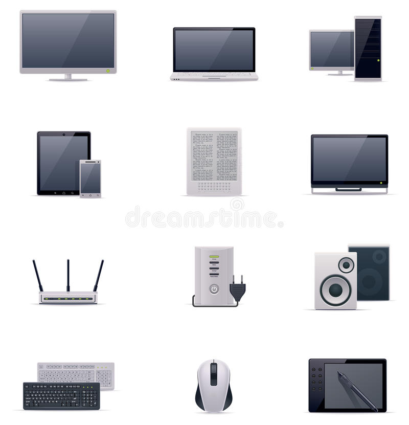 Vector computer icon set. Set of the computer related icons vector illustration