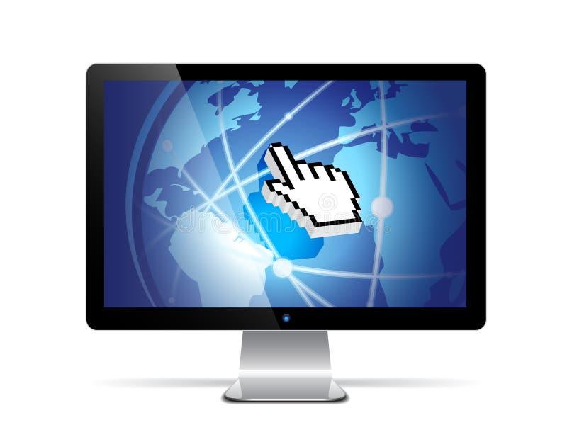 Vector computer monitor. Vector illustration of a flat screen computer monitor vector illustration