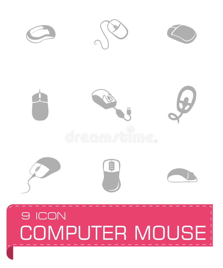 Vector Computer mouse icon set. On grey background royalty free illustration