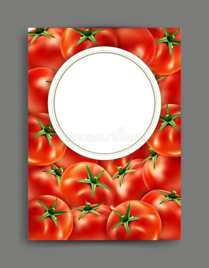 Vector con los tomates realistas aislados con el marco ilustración del vector