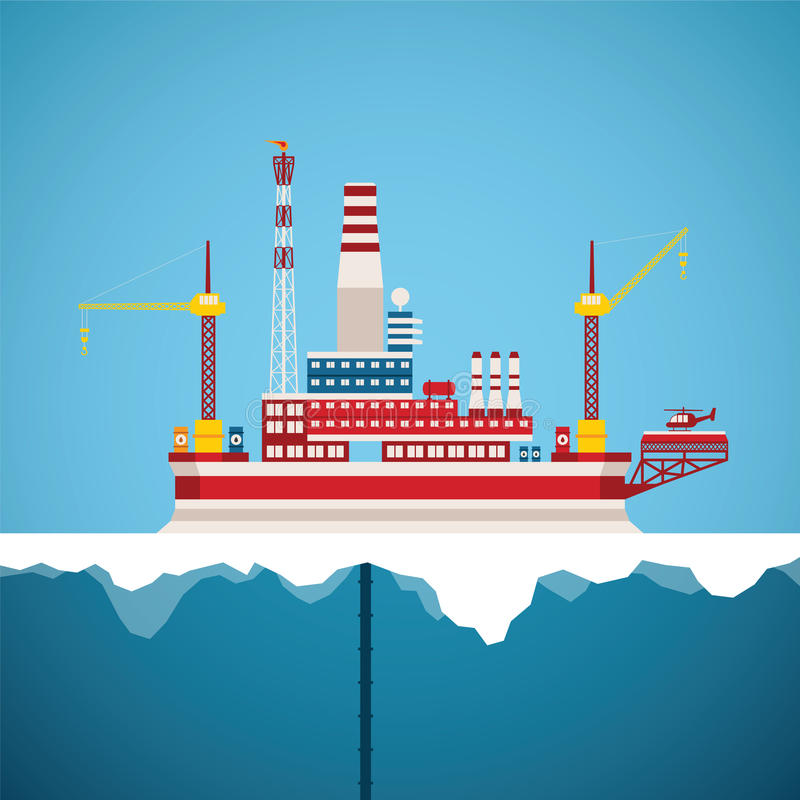 Vector concept of arctic oil and gas offshore industry. With stationary platform vector illustration