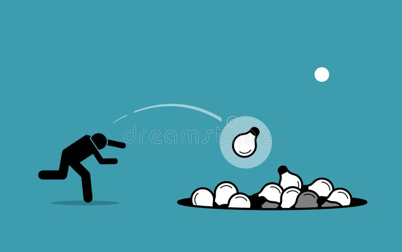 Stick figure man throwing away unwanted ideas into a hole. stock illustration