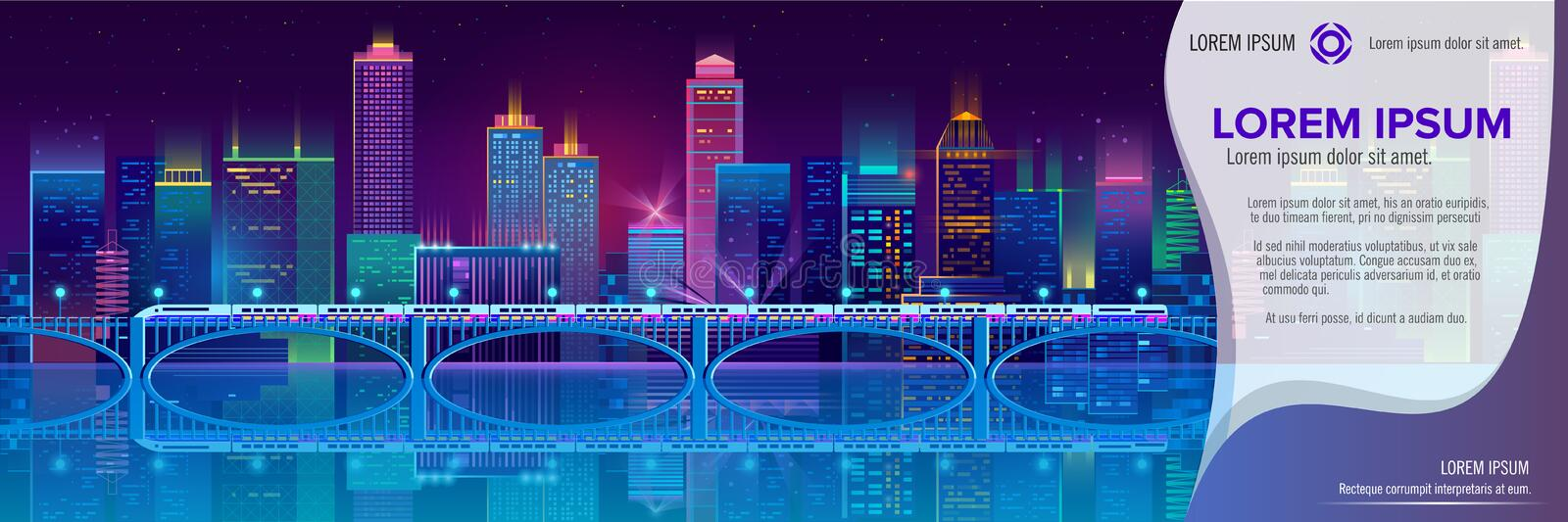 Vector banner with night city in neon lights. Vector concept banner with night city illuminated with neon glowing lights. Futuristic cityscape in blue and violet vector illustration