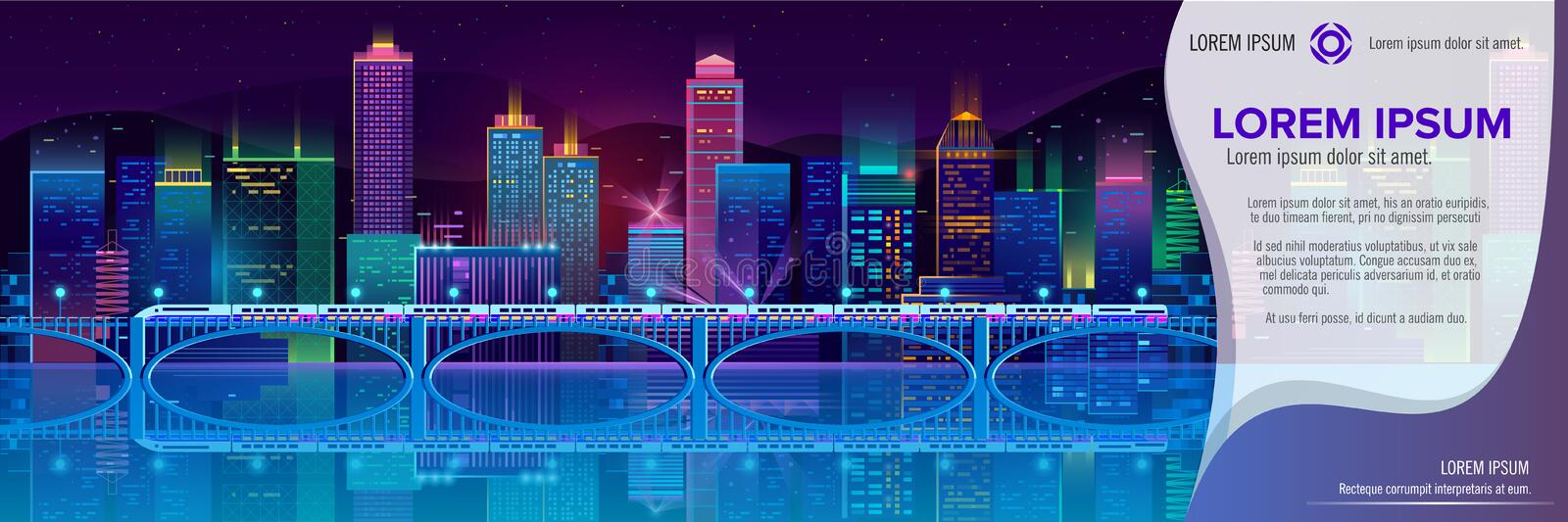 Vector banner with night city in neon lights. Vector concept banner with night city illuminated with neon glowing lights. Futuristic cityscape in blue and violet royalty free illustration