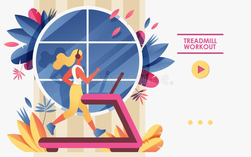 Vector concept banner template or landing page for gym or treadmill advertising web site. Young woman running in front of window stock illustration