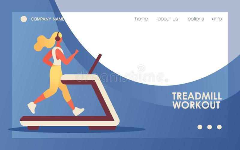 Vector concept banner with young flat woman character running on the treadmill. Blue wave, vivid gradients, good web landing page vector illustration
