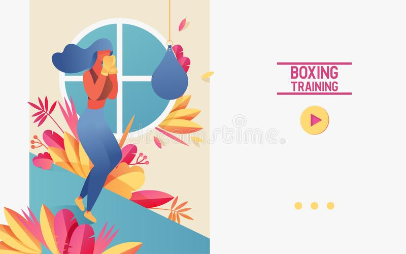 Vector concept banner with young girl doing boxing training with punching bag. Vivid landing page sport scene, good for courses or vector illustration