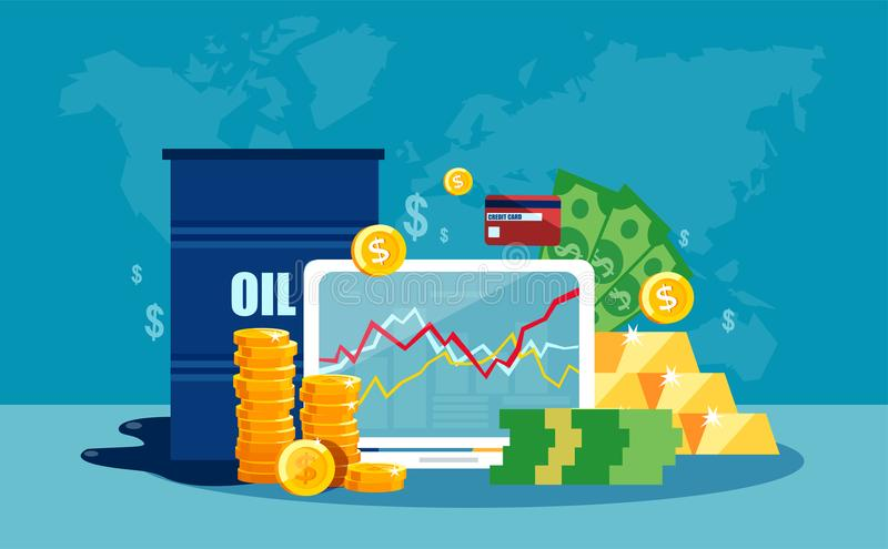 Vector concept of barrel of oil price chart in flat style stock illustration