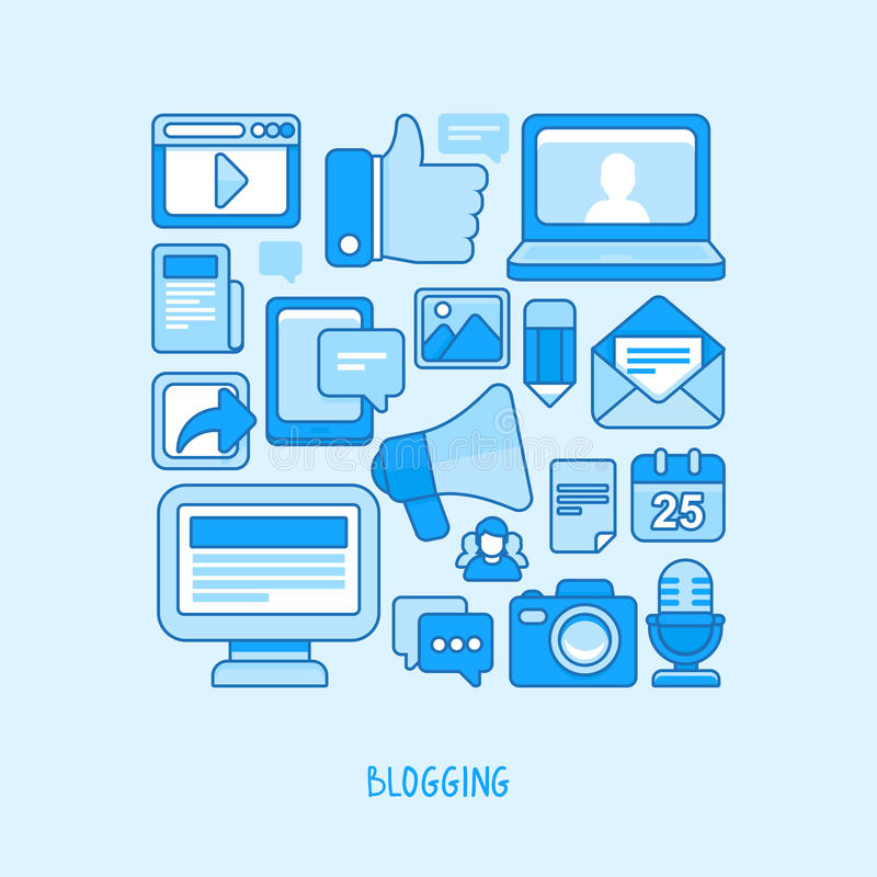 Vector concept - blogging and writing for website stock illustration