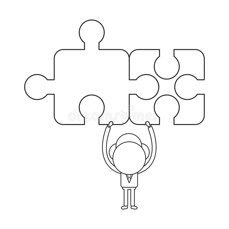 Vector concept of businessman character holding up two connected vector illustration
