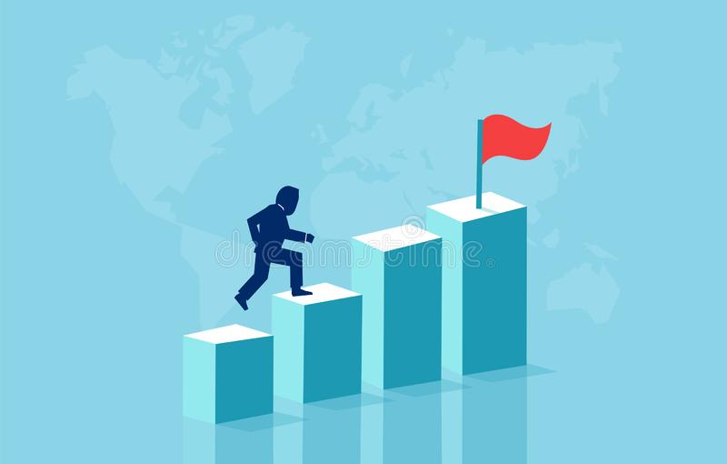 Vector concept with businessman jumping up on graph columns. royalty free illustration