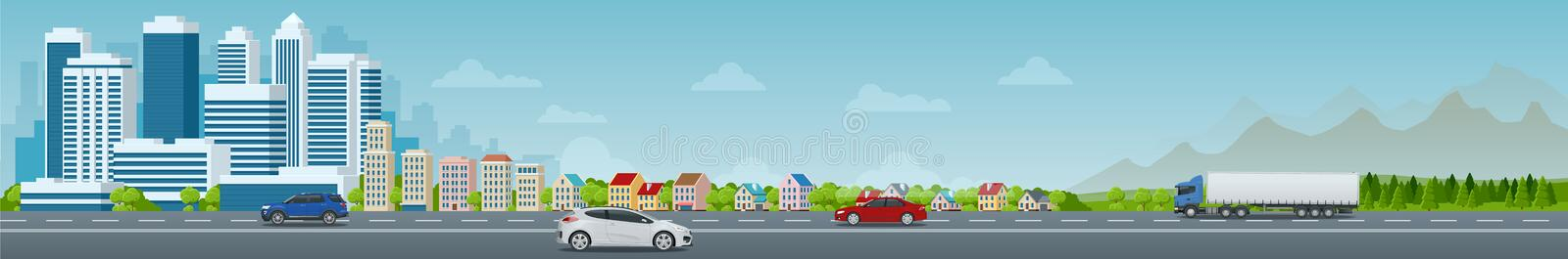 Vector concept city and suburban life. City street, large modern buildings, cityscape, cars. Urban landscape. royalty free illustration