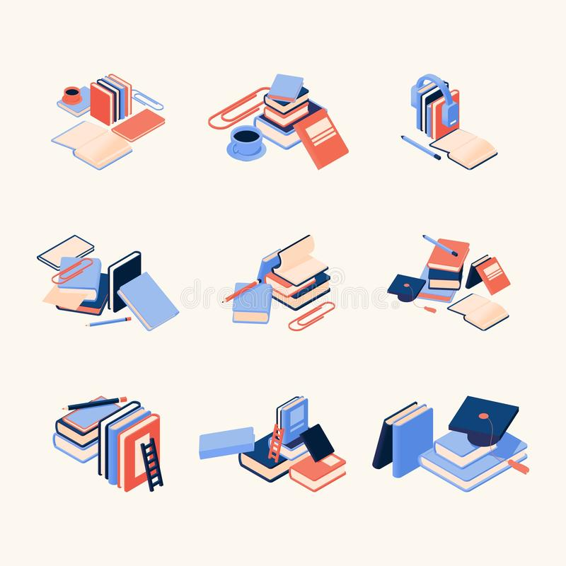 Vector concept compositions with books, coffee and pens, good for decorating educative websites, school and courses web pages. royalty free illustration
