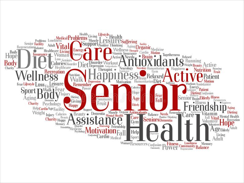 Vector concept conceptual old senior health, care or elderly people treatment abstract word cloud isolated background. A collage stock illustration