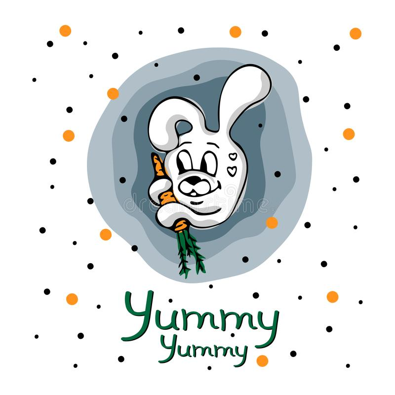 Vector concept with cute bunny, carrot and points vector illustration