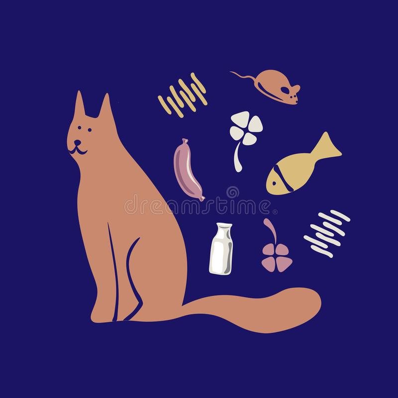Vector concept with cute cat in soft colors vector illustration