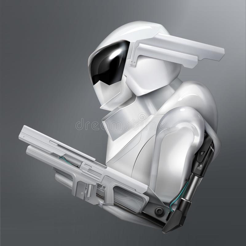 Vector concept of fictional armed robot police officer or soldier isolated on background stock illustration
