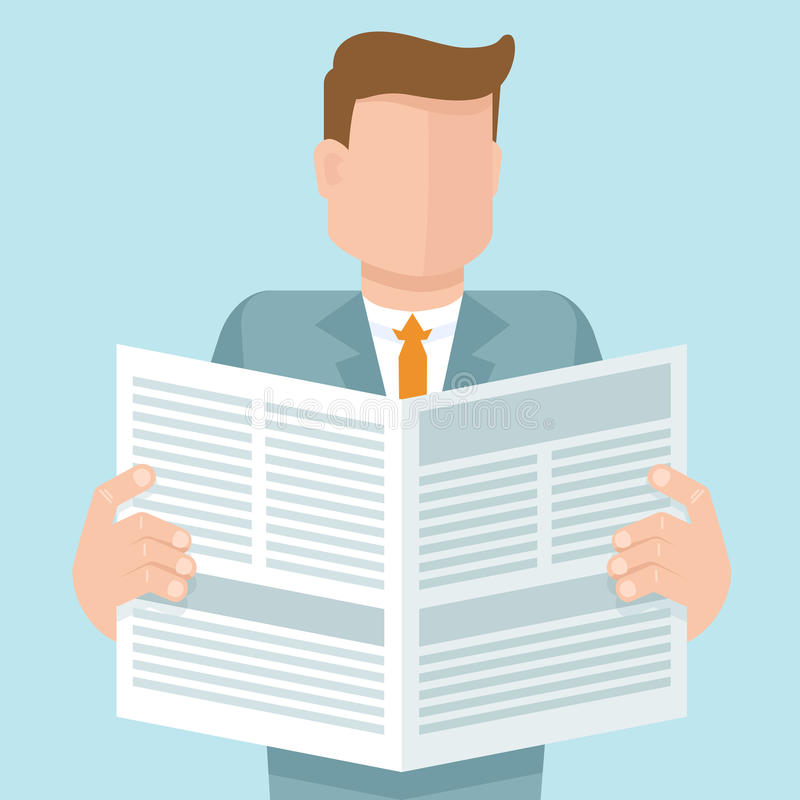 Vector concept in flat style. Man reading a newspaper with business articles royalty free illustration