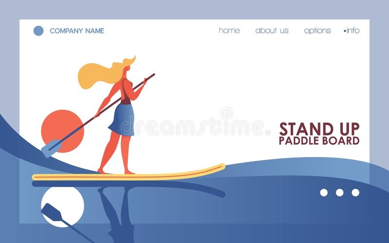 Vector concept illustration with active woman surfing board on river or sea. Blue wave and sun on landing page template dedicated. To stand up paddle boarding stock illustration
