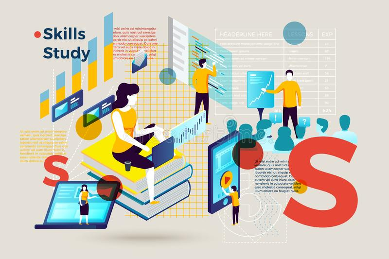 Vector letter S with people study skills online stock illustration