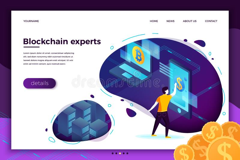 Vector concept Blockchain process investments royalty free illustration