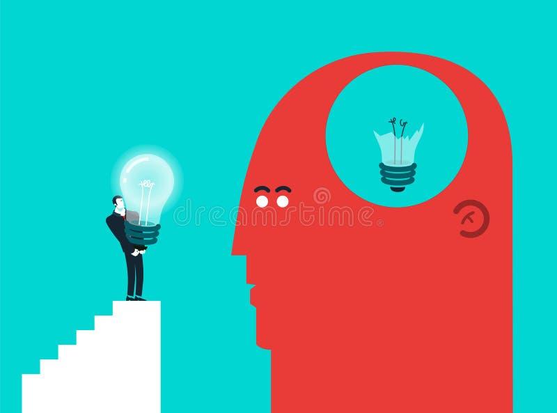 Vector concept illustration of broken light bulb royalty free illustration