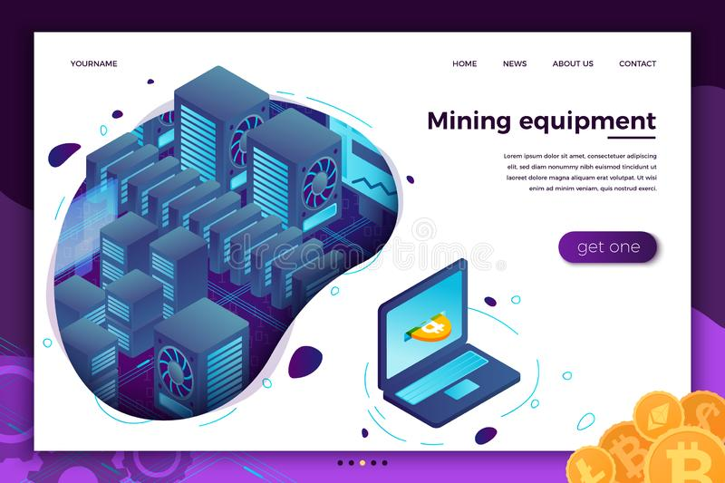 Vector concept -  cryptocurrency mining equipment royalty free illustration