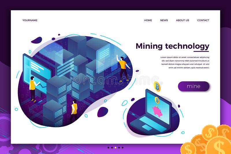 Vector concept -  cryptocurrency mining process royalty free illustration