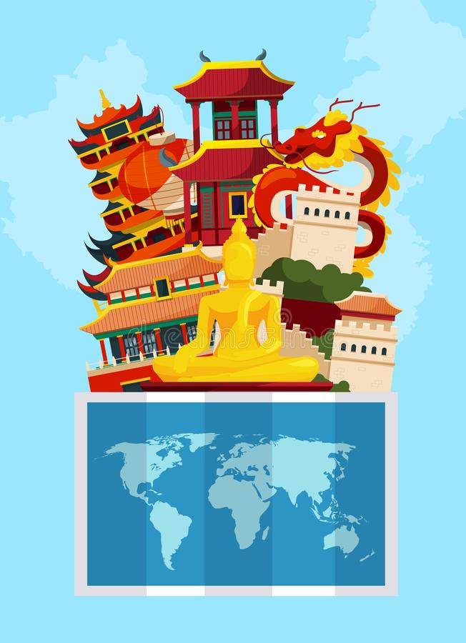 Vector concept illustration with flat style china sights above world map vector illustration
