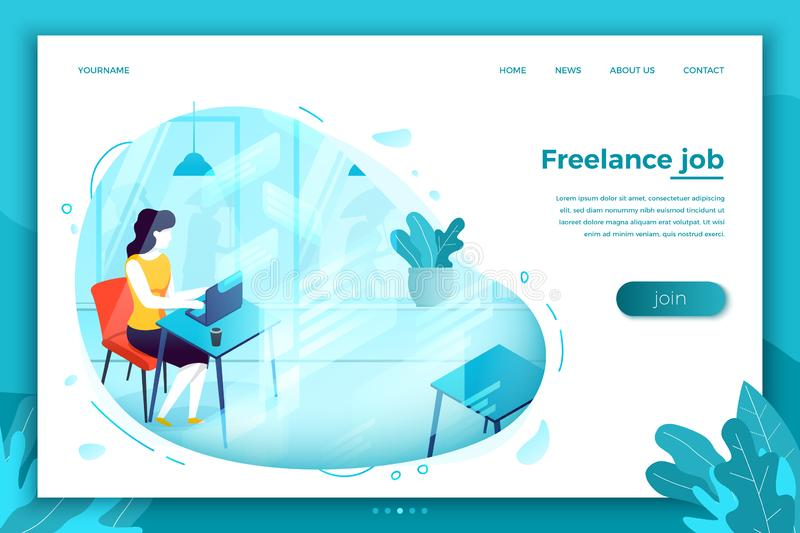 Vector concept freelancer girl with notebook stock illustration
