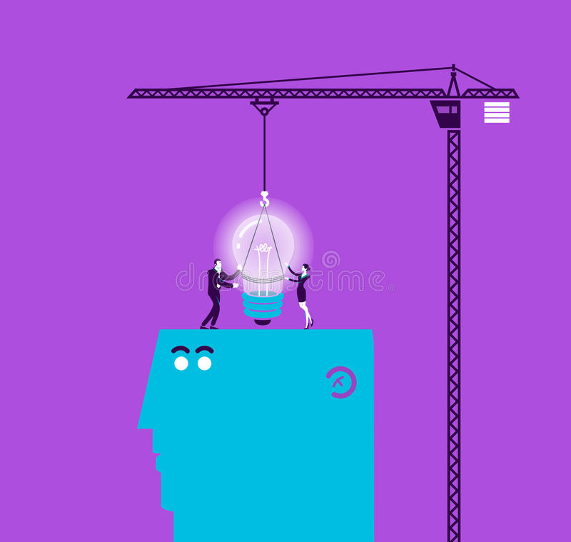 Vector concept illustration of light bulb and gift. Modern colors. Creative Bussiness illustration. Eps 10 royalty free illustration
