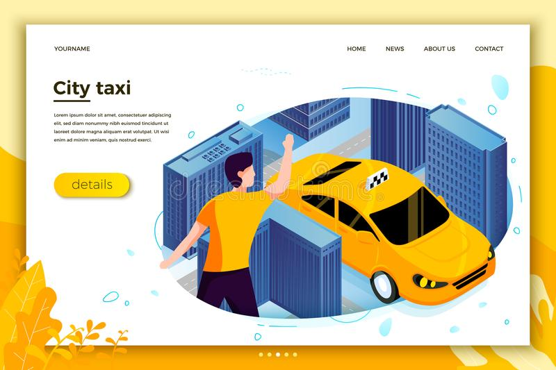 Vector concept illustration - man catching taxi cab. Modern bright banner, site template with place for your text vector illustration