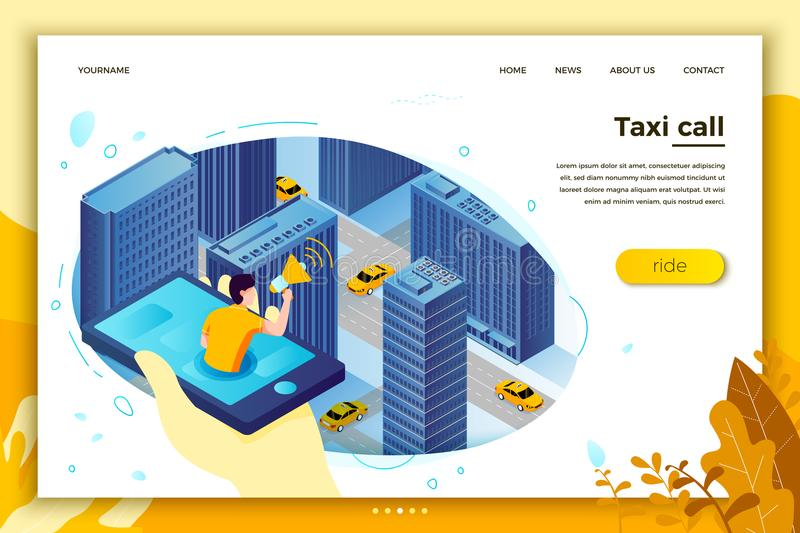 Vector concept illustration, man catching taxi cab. Vector concept illustration - man with phone, catching taxi cab. Modern bright banner, site template with royalty free illustration