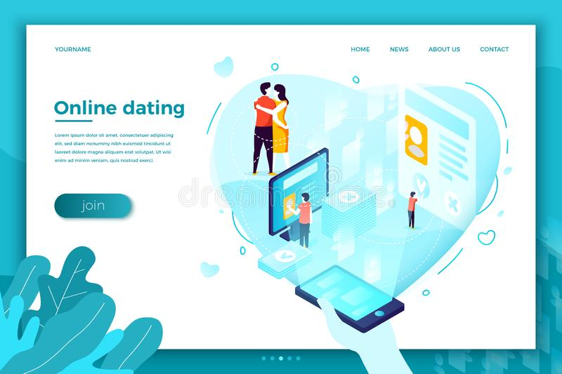 Vector online dating mobile application couple. Vector concept illustration - online dating mobile application, from search to kisses. Modern bright banner, site vector illustration
