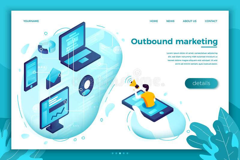 Vector concept outbound marketing man with speaker vector illustration