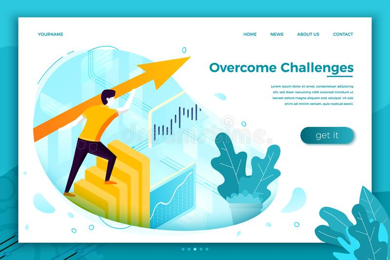 Vector concept illustration - overcome challenges stock illustration
