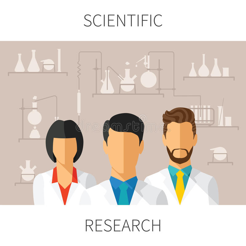Vector concept illustration of scientific research with scientists in chemical laboratory stock illustration