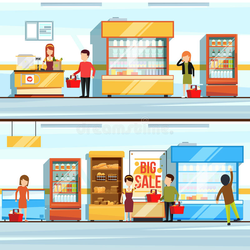 Vector concept illustration of shopping. Peoples in supermarket interior. Shop counter and different products. Checkout. Line. Shopping and assortment food in vector illustration