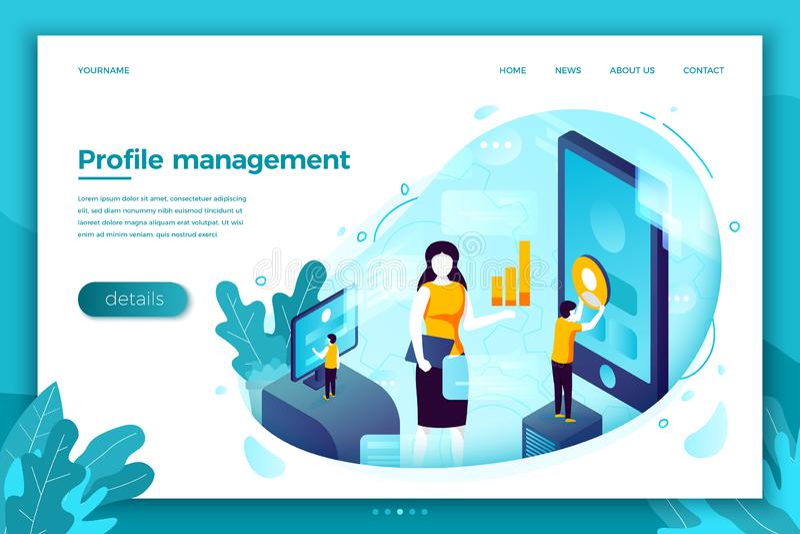 Vector concept social network profile management stock illustration