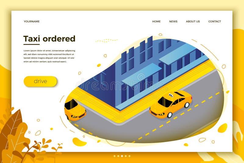 Vector concept illustration - taxi cab riding vector illustration