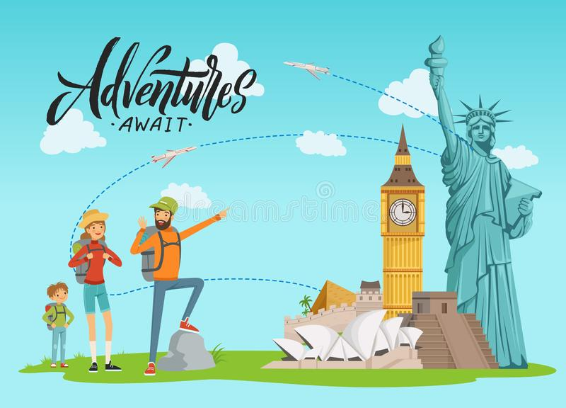 Vector concept illustration with world sights and happy family painting on them with lettering and clouds vector illustration
