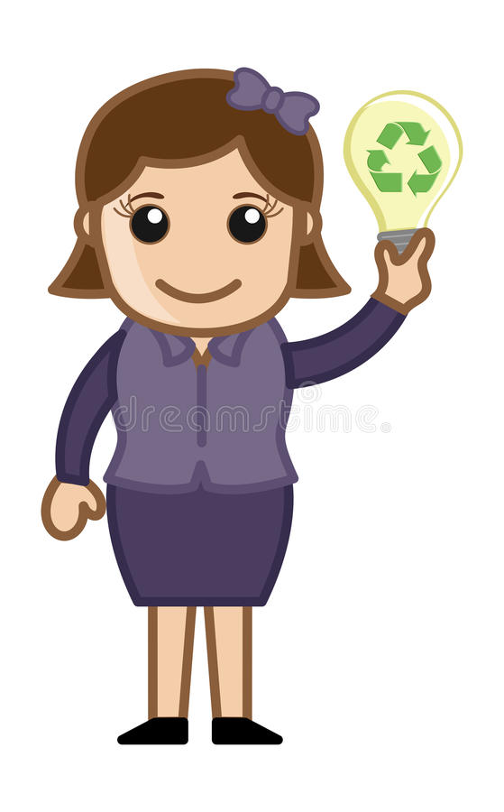 Vector Concept - Lady Holding A Bulb With Recycle Icon Royalty Free Stock Images