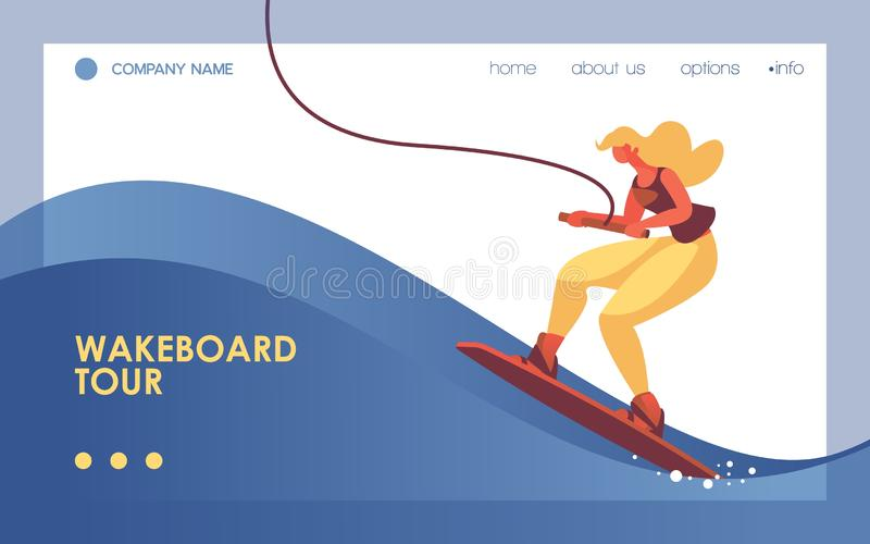 Vector concept landing page template with woman on wakeboard, decorated with blue wave. Dynamic banner good for web site sport and vector illustration